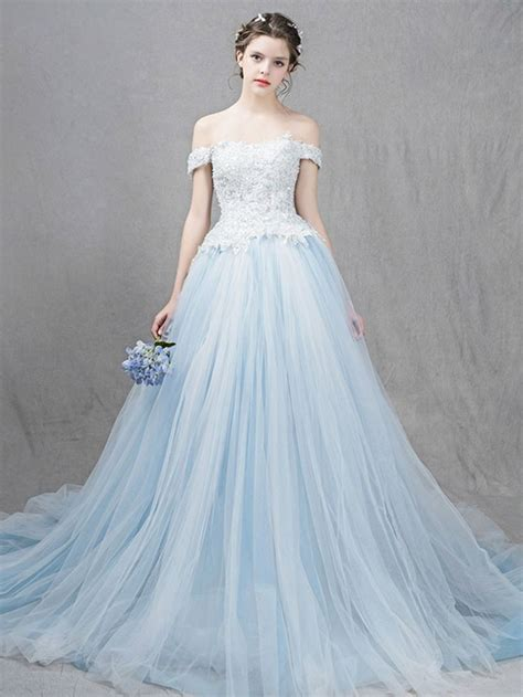 ice blue ball gown formal dress   shoulder straps