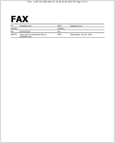 exle of fax cover letter how to send and receive faxes for free gaiageek