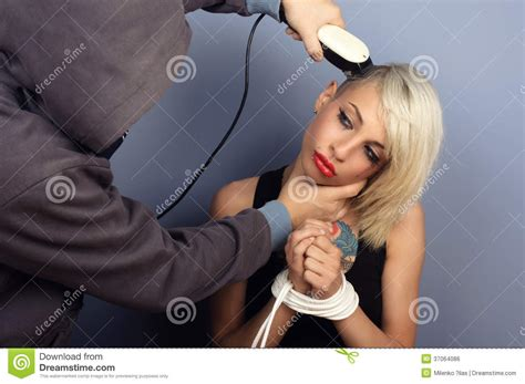 woman forced haircuts forced haircut royalty free stock image image 37064086