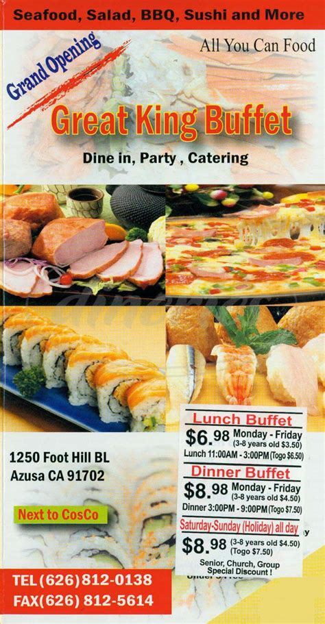 Great King Buffet Menu Azusa Dineries King Buffet Prices