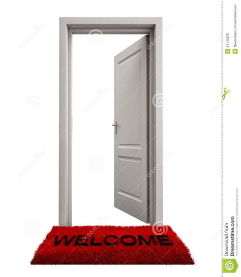 open door with welcome mat isolated on white background stock illustration image 54140879