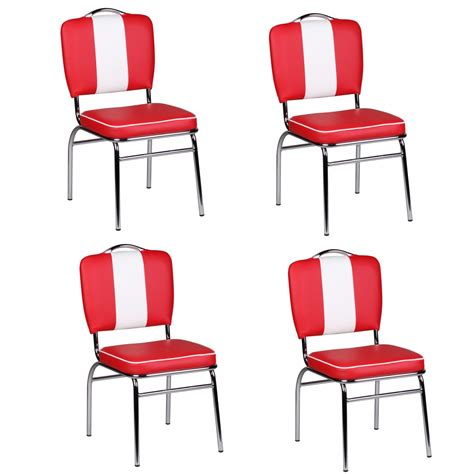 50s Dining Chairs 4 Dining Chair Set American Diner 50s Retro And White Armchair New Ebay