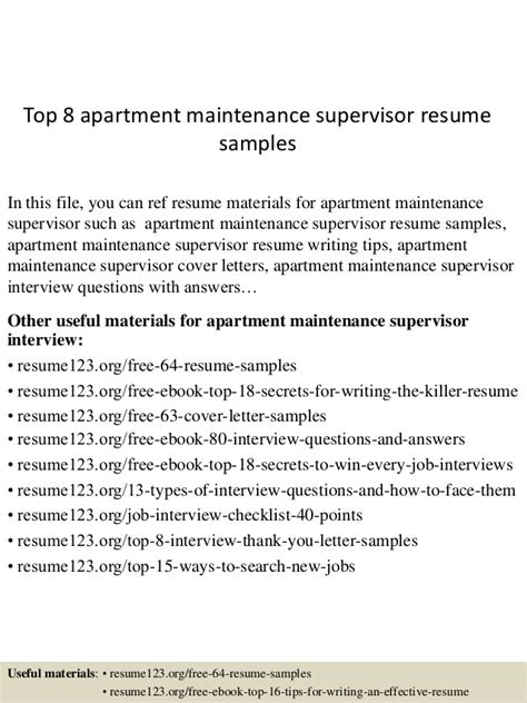 Apartment Maintenance Supervisor Resume by Top 8 Apartment Maintenance Supervisor Resume Sles