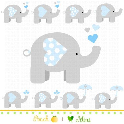 Baby Boy Elephant Themed Baby Shower by Boy Baby Elephant Clip Digital Clipart Graphics