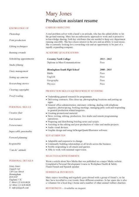 Resume Format Media Jobs by Media Cv Template Job Seeker Tv Film Radio Journalist
