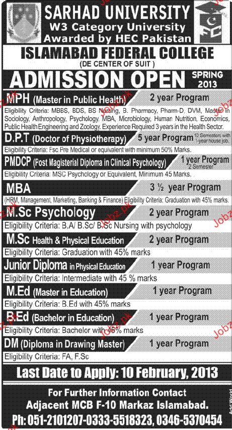 Mba In Health Management In Islamabad by Admission In Mph Dpt In Islamabad Federal College 2018