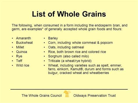 a list of whole grains foods cynthia harriman director of food nutrition strategies