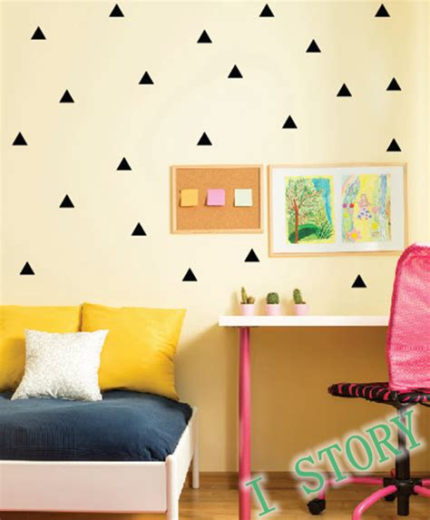 kid room wall decor triangles wall sticker room wall decoration gold