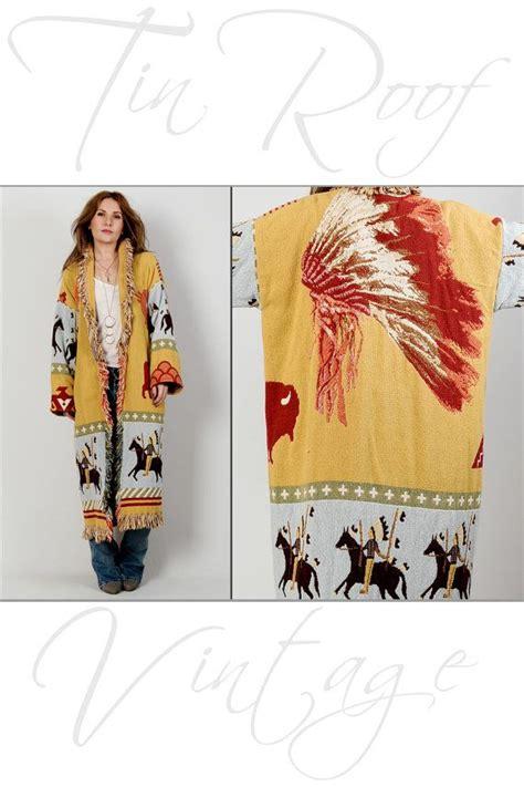 Kimono Shireen vintage 80s american blanket coat horses indian fringe maxi ja