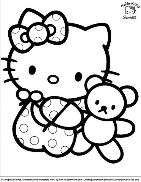 hello kitty baby colouring pages