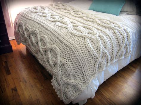 knitted throw blankets luxury oversized cable knit blanket made to order by
