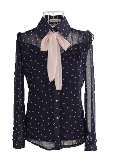 Blouse Sabrina Polkadot Navy sapphire blue polka dot sleeve chiffon blouse