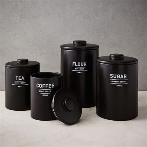 black kitchen canister utility kitchen canisters black west elm