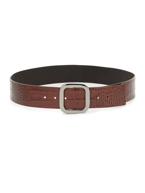saks fifth avenue wide croc embossed leather belt in brown