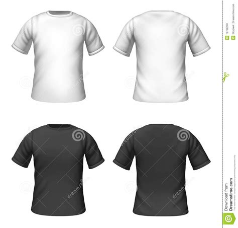 template t shirt white color blank t shirts template with black and white color stock