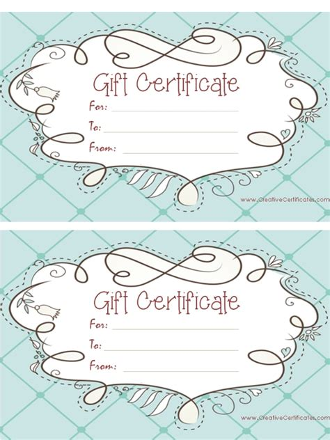 free blank gift certificate templates free gift certificate