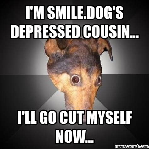 Depressed Meme - i m smile dog s depressed cousin