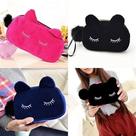 Backpack Lucu portable cat coin storage travel makeup flannel pouch cosmetic bag in cosmetic bags