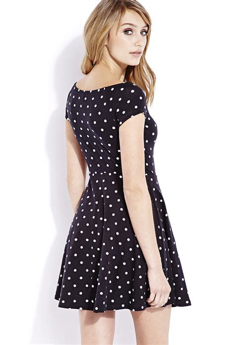 lyst forever 21 retro dots skater dress in black