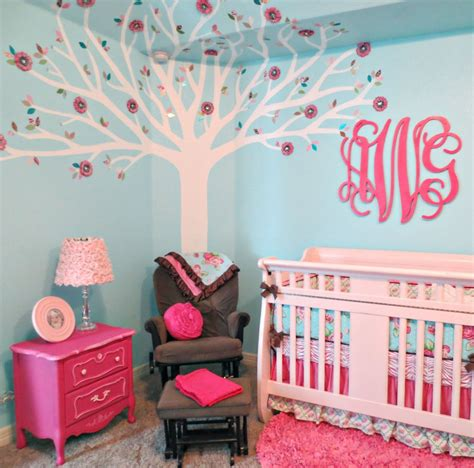 pink baby room pink and aqua monogram nursery project nursery