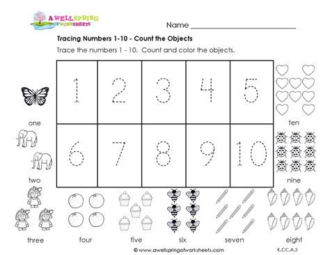free printable numbers 1 10 worksheets 6 best images of kindergarten printable counting 1 10