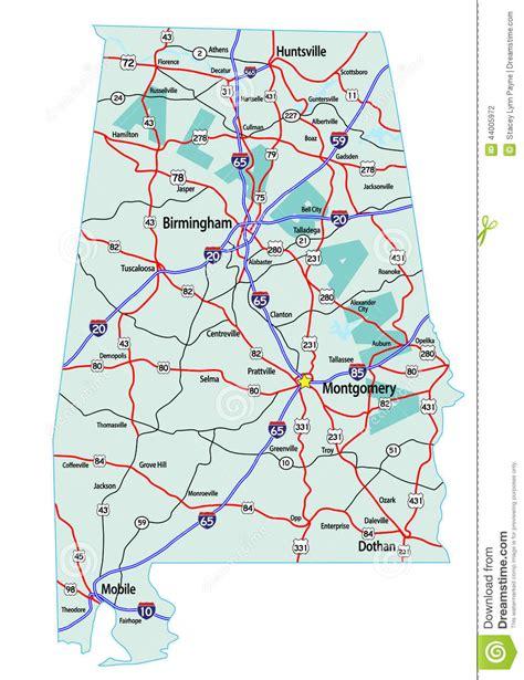 road map of alabama usa carte d autoroute nationale de l alabama illustration