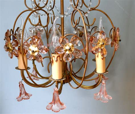 Pink Glass Chandelier Antiques Atlas Pink Glass Chandelier Light Fitting