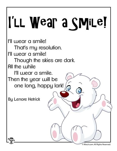 new year kindergarten poem i ll wear a smile new years poem woo jr