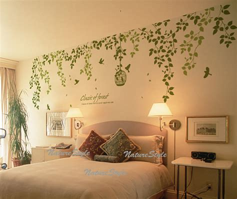 beautiful flowers with flying birds and birdscage vinyl wall