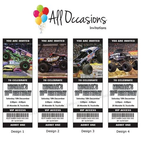 monster jam truck tickets personalised custom monster jam trucks birthday ticket