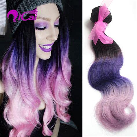 Lavender 3 Tone Violet new ombre 3 tone 1b pink purple human hair weave peruvian hair extension 1 bundles