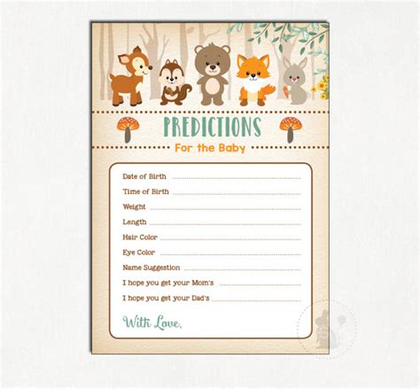 guess my number printable cards woodland baby prediction card predictions for baby guess