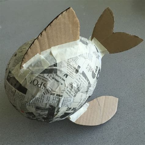 How To Make Paper Mache Fish - paper mache fish with balloon paper mache puffer fish