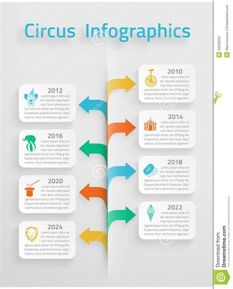 time line infographic circus stock vector image 42239255