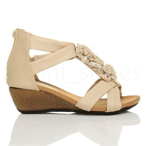 Wedges Ajk21 Wedges Sandal Flower womens low mid heel wedges peeptoe t bar flower