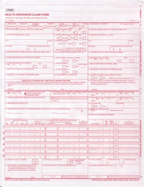 cms 1500 form template insurance claim forms zen cart the of e commerce