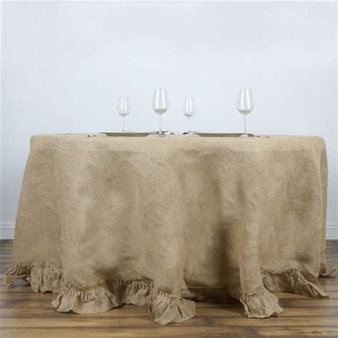 Faux Crystal Chandeliers 120 Inch Natural Brown Burlap Ruffled Round Tablecloth