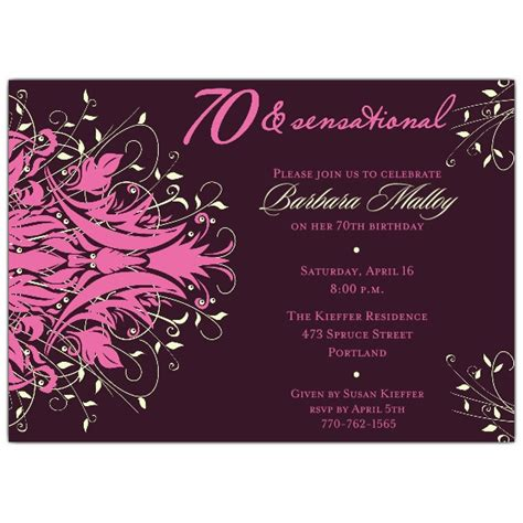 Andromeda Pink 70th Birthday Invitations Paperstyle 70th Birthday Invitation Templates