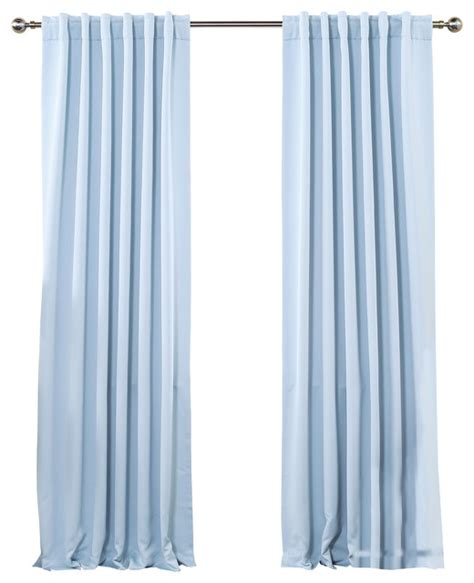 Sky Blue Curtains Solid Backtab Thermal Insulated Blackout Curtains 1 Pair Sky Blue 84 Quot Traditional