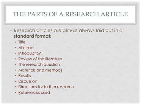 sections of a research article how to read a research article