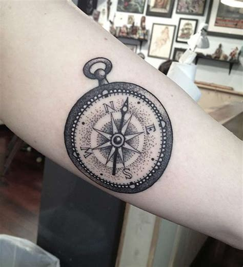 Dotwork Rose Compass Tattoo On Left Arm By Daniel Rozo | dotwork compass tattoo on arm sleeve