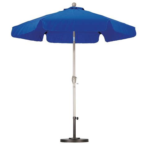 7 patio umbrella california umbrella 7 1 2 ft fiberglass push tilt patio umbrella in pacific blue spunpoly