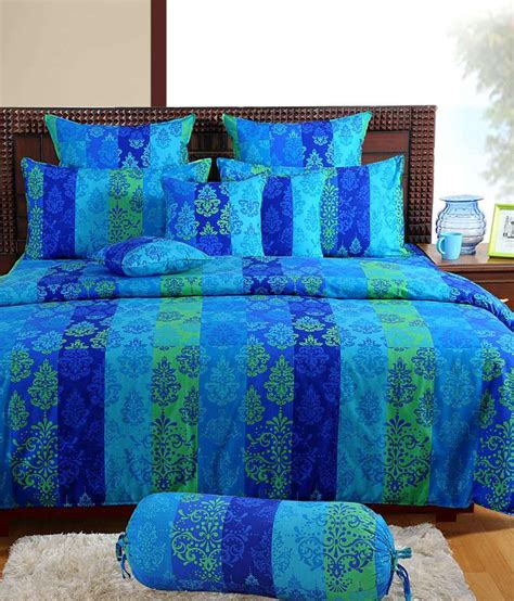 bed sheets and pillows swayam signature chic blue single bed sheet with pillow