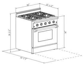 kitchen appliance dimensions 30 in 4 2 cu ft stainless steel gas range with convection