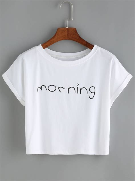 Letter Sleeve T Shirt buy black letters print cuffed sleeve t shirt at romwe