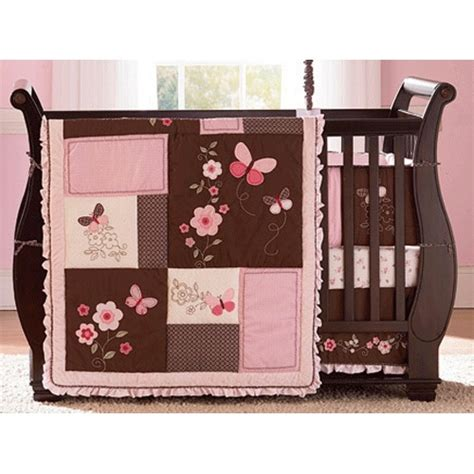 butterfly crib bedding set carter s butterfly flowers 4 piece crib set girl nursery
