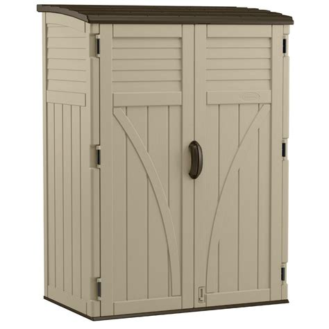 suncast outdoor storage cabinet suncast 2 ft 8 in x 4 ft 5 in x 6 ft large vertical
