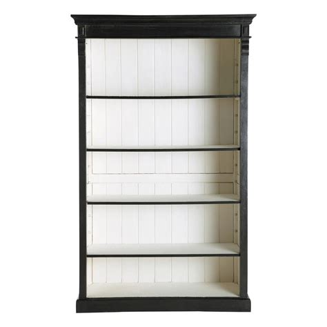black wood bookshelves mango wood bookcase in black w 120cm descartes maisons du monde