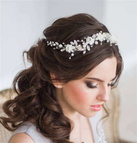white bridal hair tiara length about 11 8 inches 30 cm made from fauamir flowers