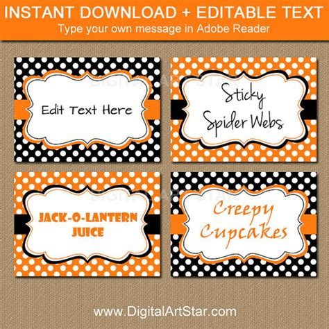 buffet name tag design editable halloween buffet cards printable labels